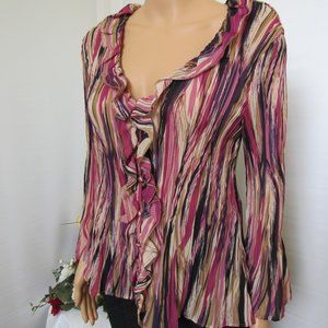 Allison Taylor Ruffled Ruched Blouse Size Large